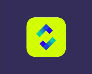 Syncrovive neon icon design. Logo design for a mobile calendar app focused on linking people to find mutual free time to save time planning and help make meeting up more efficient. The SyncroVive logo consists of these symbols: S letter, two V letters, the tick and calendar cells. One of the main things that the logo symbol portrays is the idea of synchronisation.