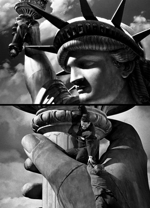 2 shots showing Robert Cummings & Norman Lloyd in Saboteur (1942, dir. Alfred Hitchcock)