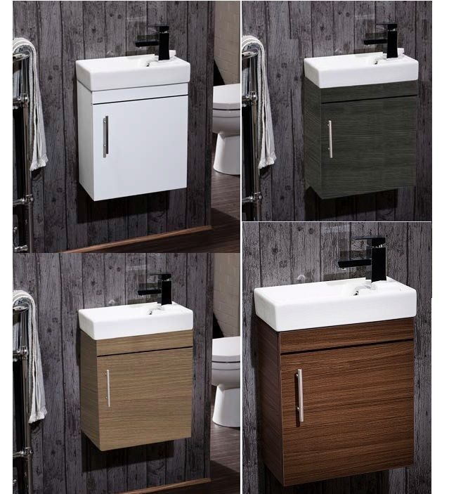 Minimalist Compact 400mm Small Cloakroom Wall Hung Vanity Unit & Basin 40cm