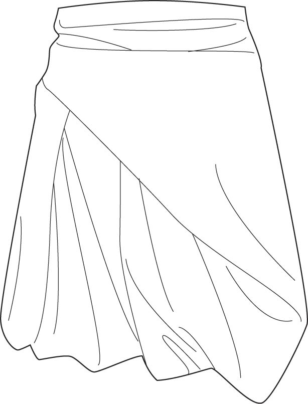 Flat Fashion Sketch Skirt