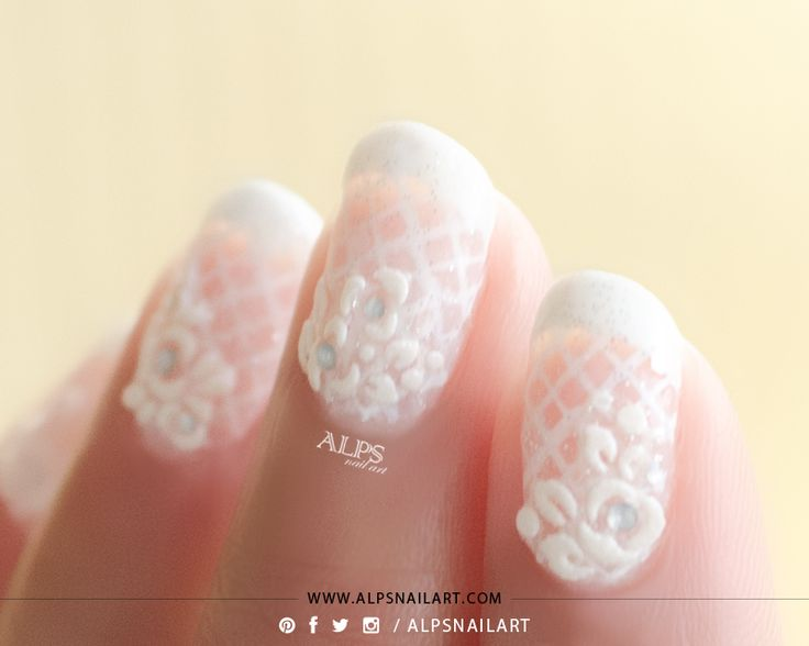 French tip Nails Bridal Nails / Lace Nails with sheer base using Jelly Sandwich Nails art