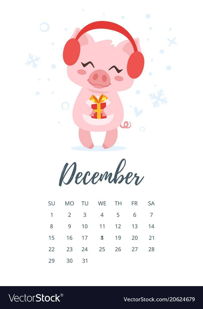 Vector cartoon style illustration of December 2019 year calendar