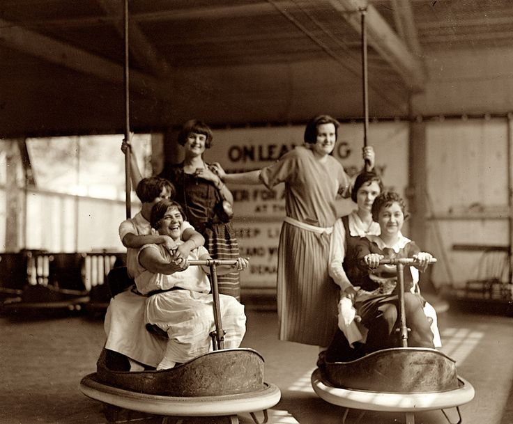 Look at the joy here, the excitement -- except I think the seated passenger in the right car really wanted to drive. Bumper cars, Glen Echo, Maryland - 1924