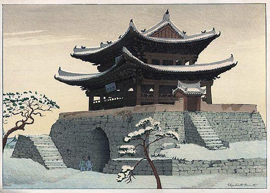Pyongyang East Gate(1925) - Elizabeth Keith / 평양 대동문(1925) - 엘리자베스 키스