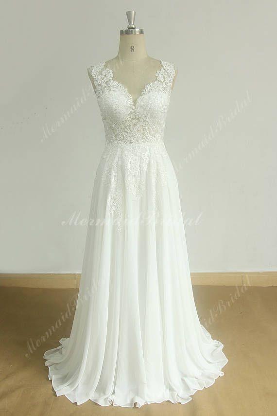 Ärmellose Vintage Chiffon Spitze Brautkleid mit tiefem