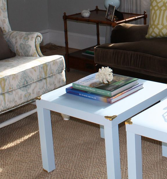 These tables are Ikea hacks!!  So easy!: Lack Hacks, Side Tables, Campaigns Style, Ikea Tables, Ikea Hacks, End Tables, Brass Corner, Ikea Lack Table, Lack Tables