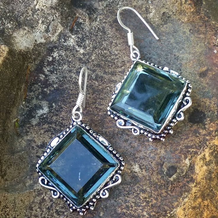 Hand Crafted 925 and German Silver Square Cut Iolite Earrings