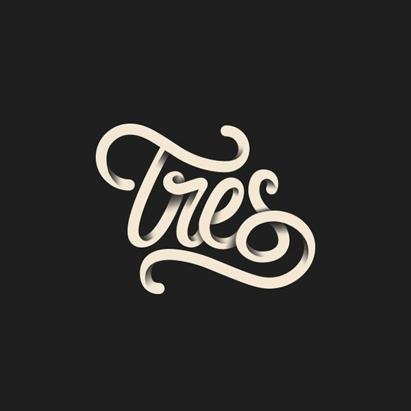 Illustrative type, shading to create 3D feeling of overlapping  Hey Chica! - Tres by Orestes Mora