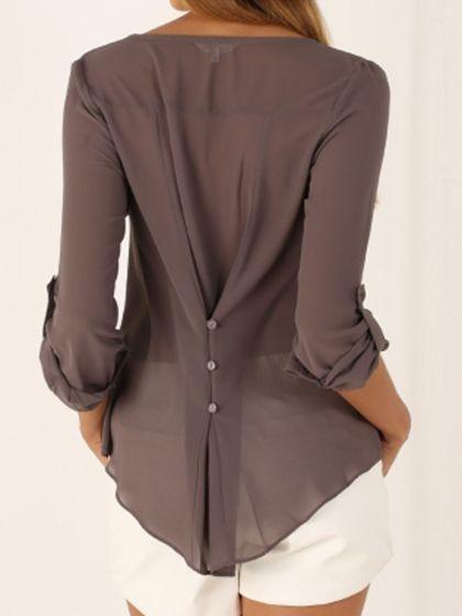 Gray V-neck Button Detail Dip Back Blouse | Choies