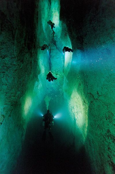 Underwater Caves in the Bahamas | Click to enlarge: In Stargate, a blue hole on Andros Island, divers ...