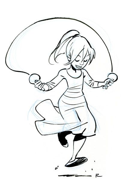 how to draw a skipping rope