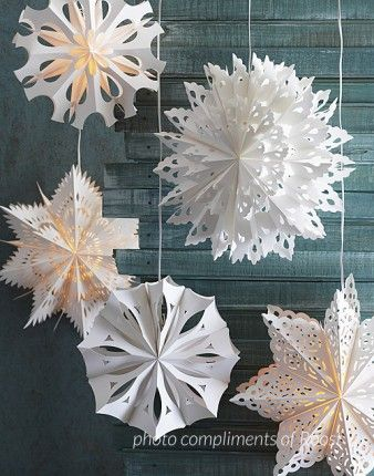 roost paper snowflakes pendant lamps. This is so cool, but may be beyond us!