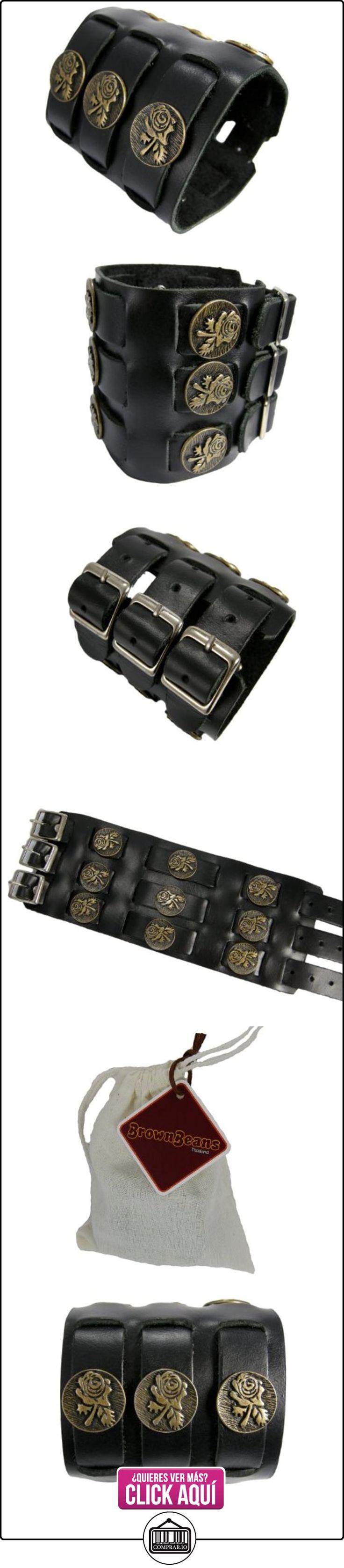BrownBeans, diseño de flores Decor, negro, calidad de piel para hombre hebillas pulsera para (LBCT11006)  ✿ Joyas para hombres especiales - lujo ✿ ▬► Ver oferta: https://comprar.io/goto/B00JKO00QQ