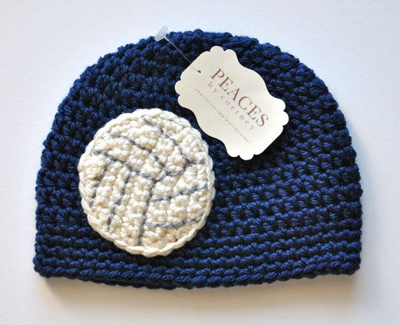 Navy Blue Volleyball Baby Beanie / Baby Hat / Newborn Hat  by Peaces by Cortney www.etsy.com/shop/peacesbycortney