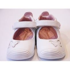 Girls White Soft Leather Shoes With Flexible Sole & Scuff Protection | 162130