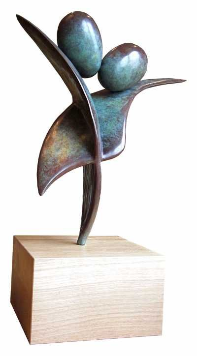 Bronze Emotion sculpture by artist Rosamond Lloyd titled: 'Joint Venture (Abstract Love Token Sculptures)' #sculpture #art