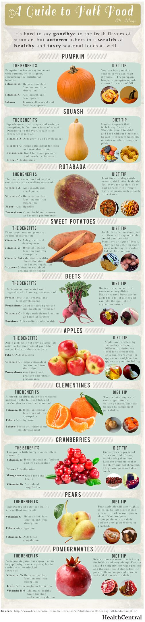 Great guide to healthy Fall produce, gardening, farmers market, food