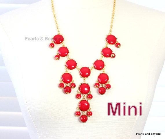 Red Bubble Necklace J. Crew Inspired Bib by PearlsandBeyond, $13.60