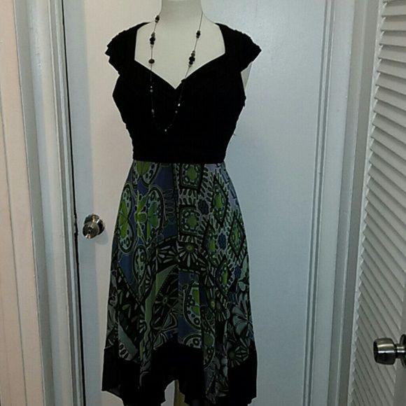 Black and green flowery dress Asymmetrical bottom chiffon dress. sangria Dresses High Low