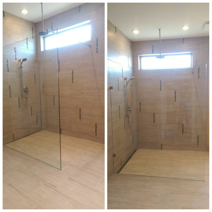 Level entry shower with linear drain