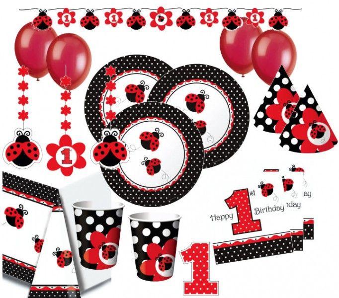 XXL Party Deko Set 1. Geburtstag Marienkäfer Für 16 Personen