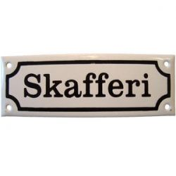 Skafferi (vit botten/svart text)