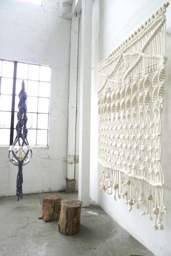 Large white Macrame Wall Hangings - wall hanging weave, wall hanging yarn