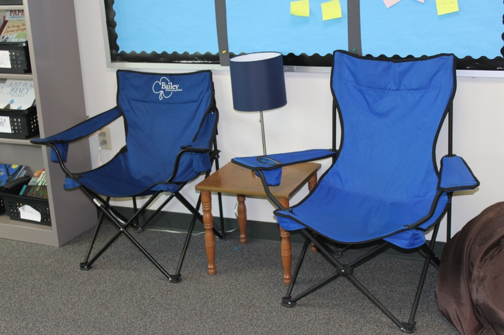 Folding portable chairs, a small end table, and a lamp are a fun seating option in Karen Terlecky's fifth-grade classroom library.