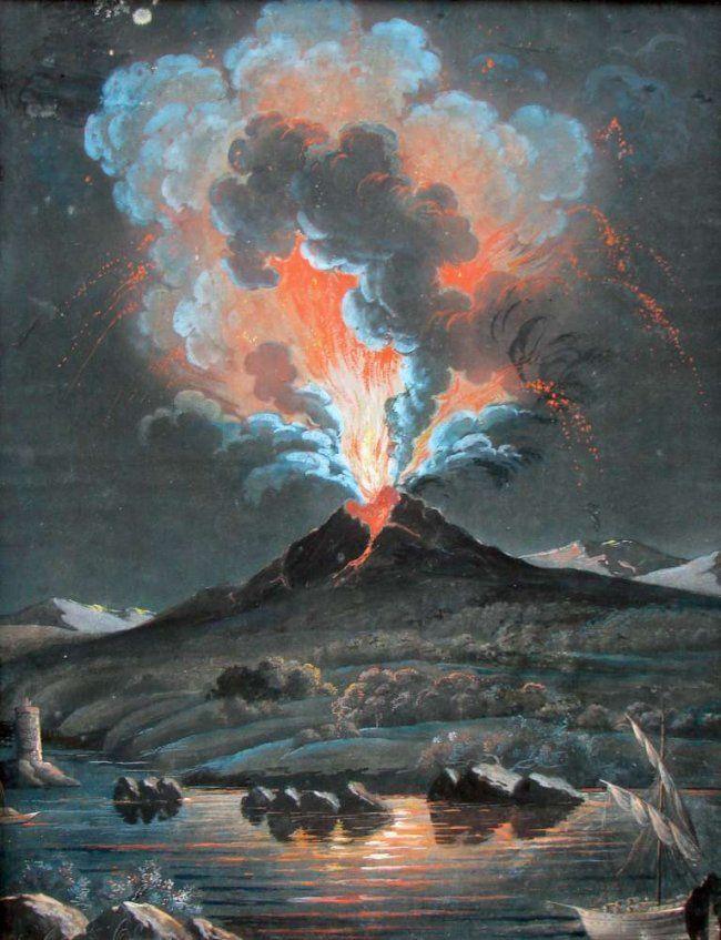 neapolitan school, 19th century -  mount vesuvius erupting at night, gouache on paper.