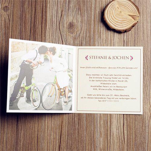 Günstige Einladungskarten Hochzeit Online  Optimalkarten Fahrrad Lustige  Hochzeit Foto Klappenkarten   Papiersorte: Glattes Feinpapier Farbe Der  Karte: Gelb ...
