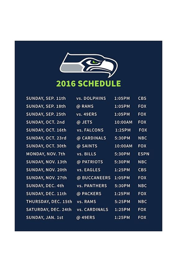 Seahawks schedule refrigerator magnet by twelfthwoman on Etsy