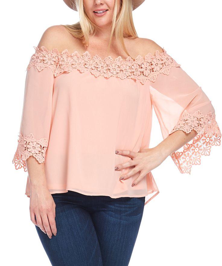 Peach Crochet-Trim Off-Shoulder Top - Plus