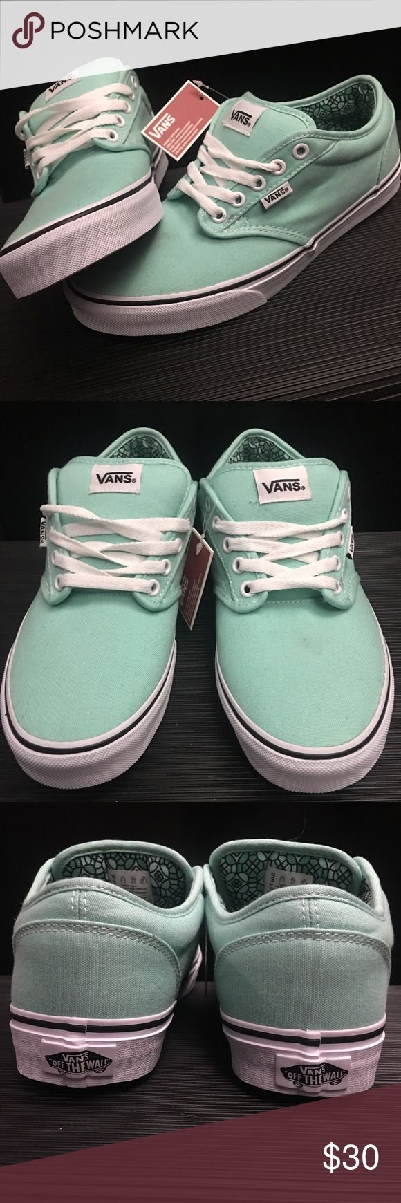 Mint Green Vans **Price Firm** Reposhing as they are a little too big for me (I'm more of an 8/8.5). They arrived with 3 small marks as pictured on left shoe near the laces, but, not noticeable at all. They just need cleaned up. 9 women Vans Shoes Sneakers