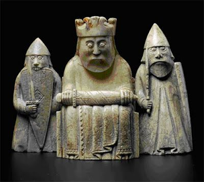 my favorites!  I want these, of course. Lewis chess pieces. Check out the warrior biting his shield.