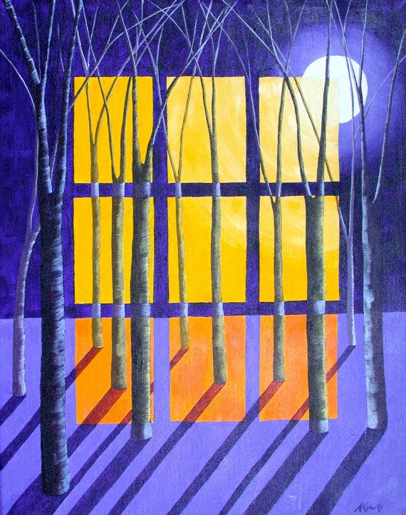 Night and Day Surreal Acrylic Landscape Painting by annarobertsart, $480.00