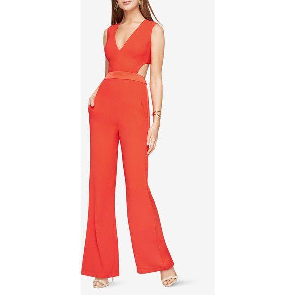 BCBGMAXAZRIA Malgosia Cutout Jumpsuit ($298) ❤ liked on Polyvore featuring jumpsuits, orange, orange jumpsuit, orange jump suit, red jump suit, bcbgmaxazria and cutout jumpsuits