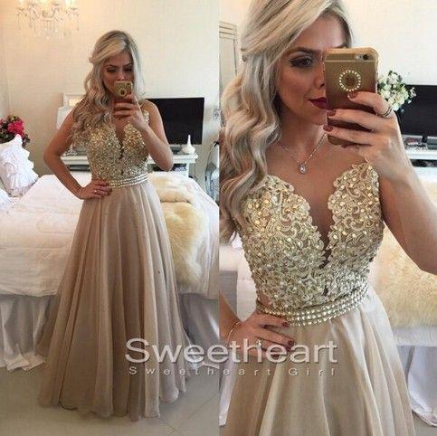 Lace Chiffon Long Prom Dresses