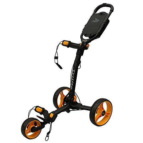 Axglo TriLite 3-Wheel Push Golf Trolley Black/Orange + 2 Free Accessories