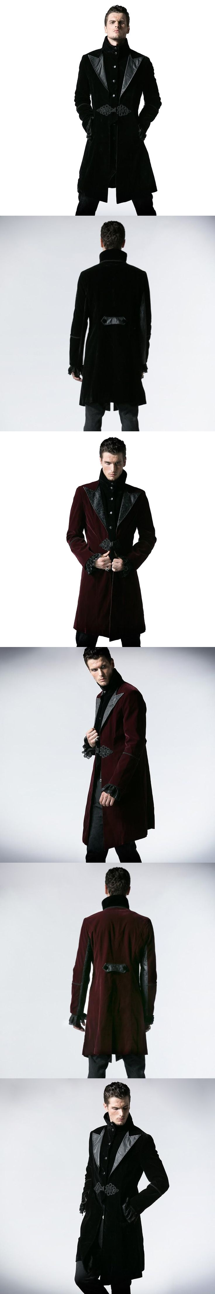 2017 Steampunk Autumn Winter High Collar Corduroy Jacket Thick Windbreakers Gothic Court Fashion Men's Long Duster Coats
