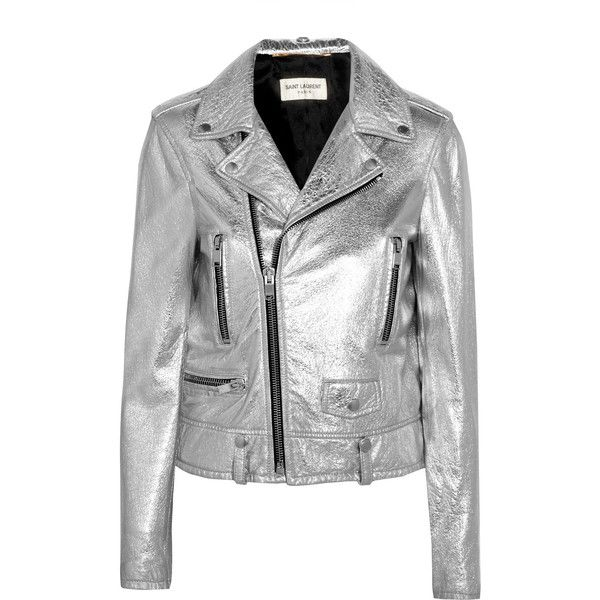 Saint Laurent Perfecto metallic textured-leather biker jacket (£3,425) ❤ liked on Polyvore featuring outerwear, jackets, rock and roll jacket, metallic moto jacket, rider jacket, asymmetrical zipper jacket and lightweight motorcycle jacket