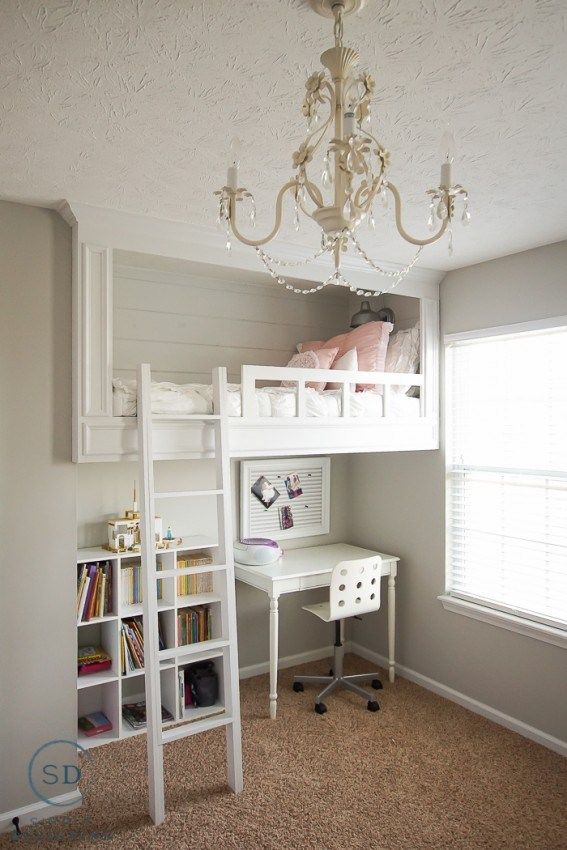 White Loft Bed for a Girl with Shiplap | Simply Designing
