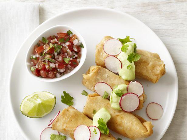 Chicken Flautas #Recipe || I'd ditch the avocado cream and just use sour cream. I dislike avocados.