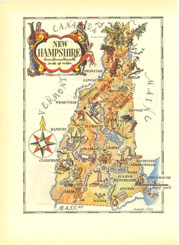 Nh Usa Map.Illustrated Vintage Map Of New Hampshire 1946 United States Usa 50