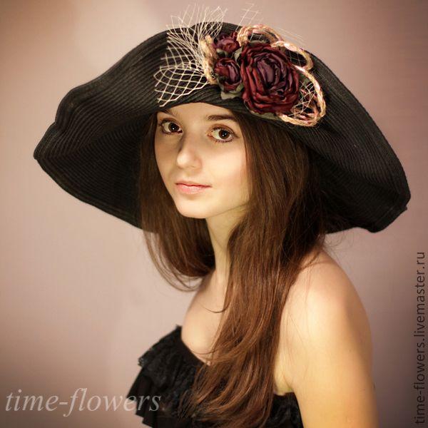 Купить Шляпа с полями «Незнакомка» - чёрный, однотонный, шляпа, с болями, с большими, с цветами, ручной работы