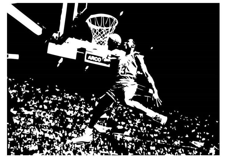 Large Michael Jordan Chicago Bulls Basketball Dunk Vinyl Wall Sticker Decal