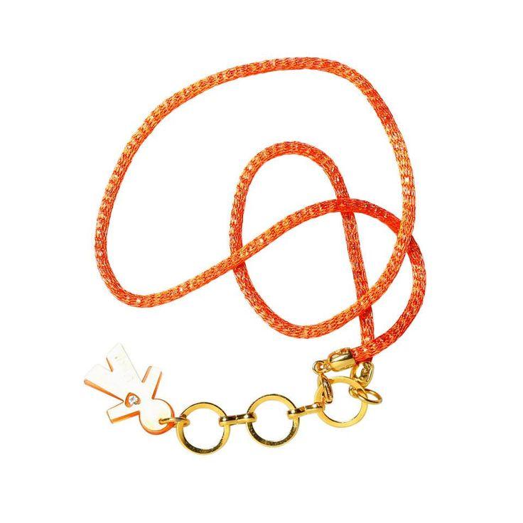Linea #rainbow by #birikini: collana un filo colore arancio