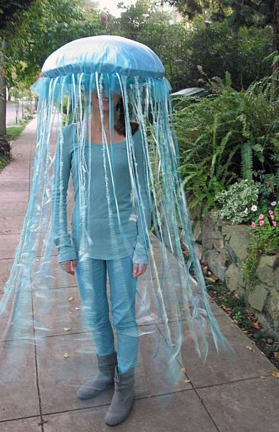 Finding Dory Home Made Jellyfish Costume. Easy DIY finding Dory Halloween Costume Idea