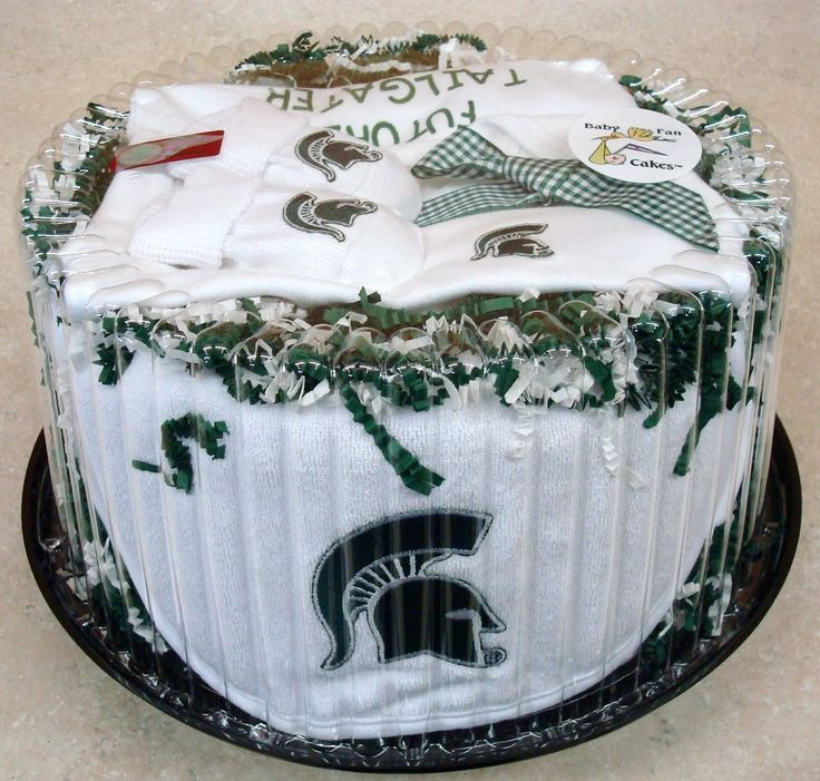 Score big points at the next baby shower with our Michigan State Spartans Baby Fan Cake gift set by Future Tailgater, $49.99