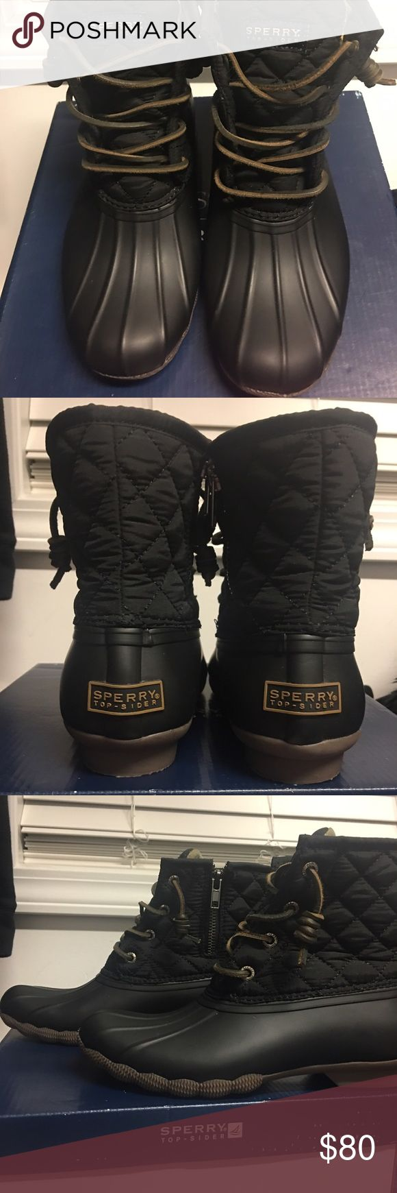 Sperry Duck Boots Women's black 5.5 to small for me, new with box Sperry Shoes Winter & Rain Boots