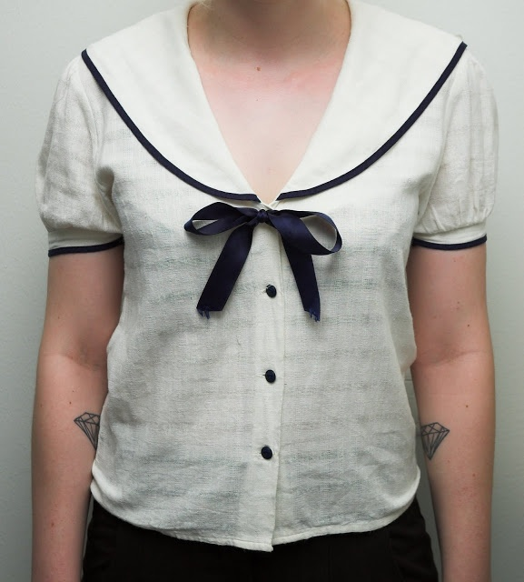 a white button down altered and with sailor collar and bow added makes a tasty nautical top like this one?
